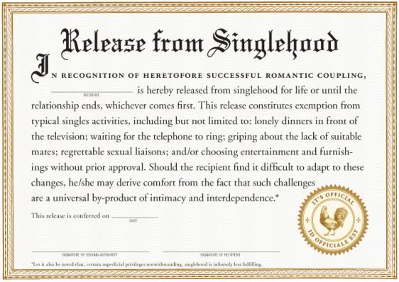 Knock Knock Release from Singlehood Certificate