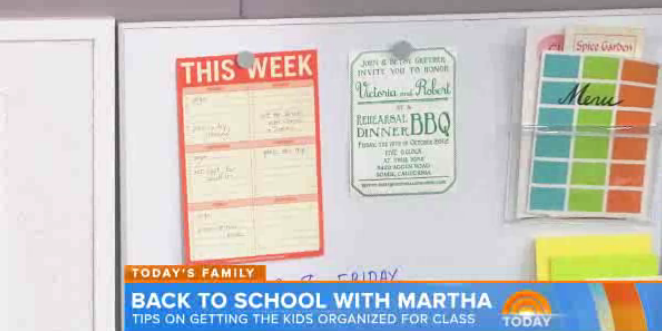 Martha Stewart's This Week Pad on the Today Show