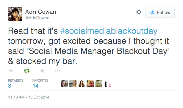 Social Media Blackout Day Funny Tweet