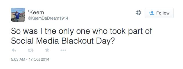 Social Media Blackout Day Participant