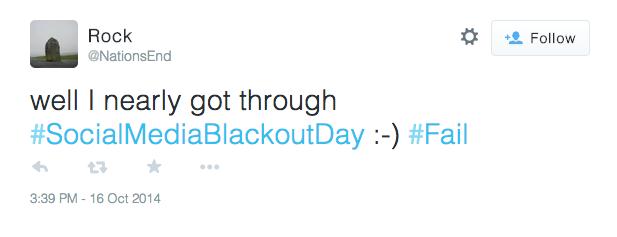 Social Media Blackout Day Tweet Fail