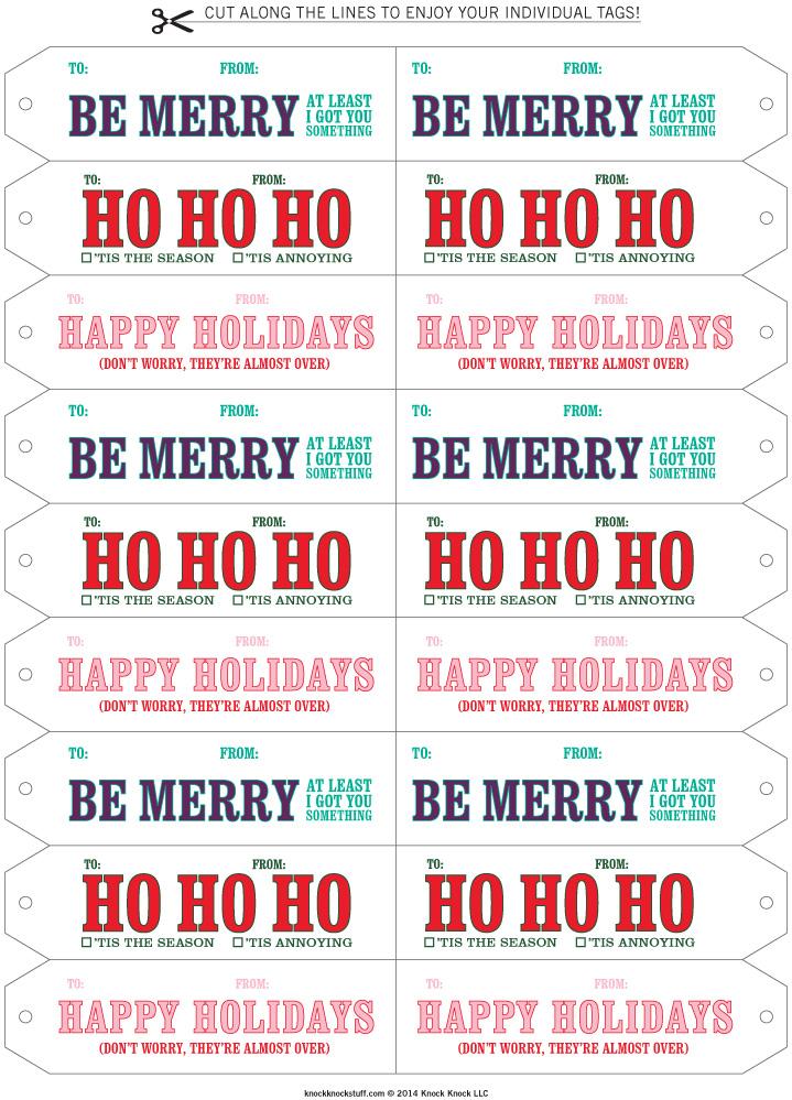 Knock Knock Printable Funny Gift Tags