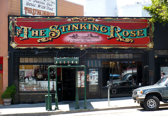 Hand Painted Sign The Stinking Rose - Knock Knock Blog