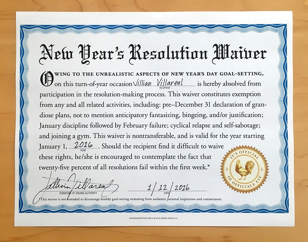 New Year's Resolution Waiver