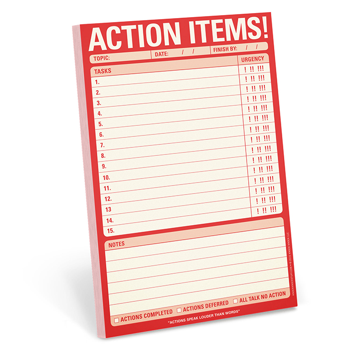 Action Items! Pad - Knock Knock Blog
