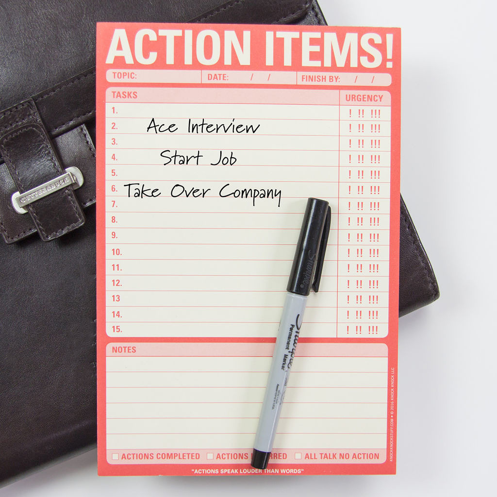 Knock Knock Action Items Note Pad