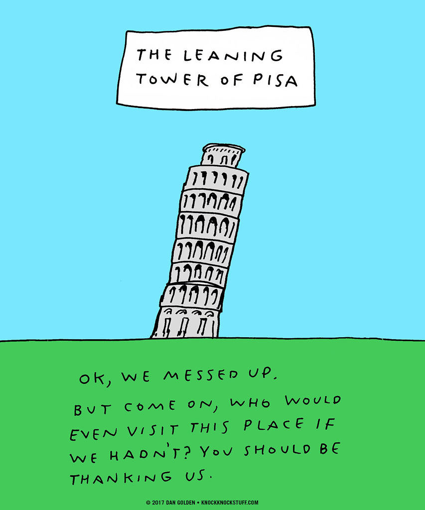 Leaning Tower of Pisa Apology - Knock Knock Blog
