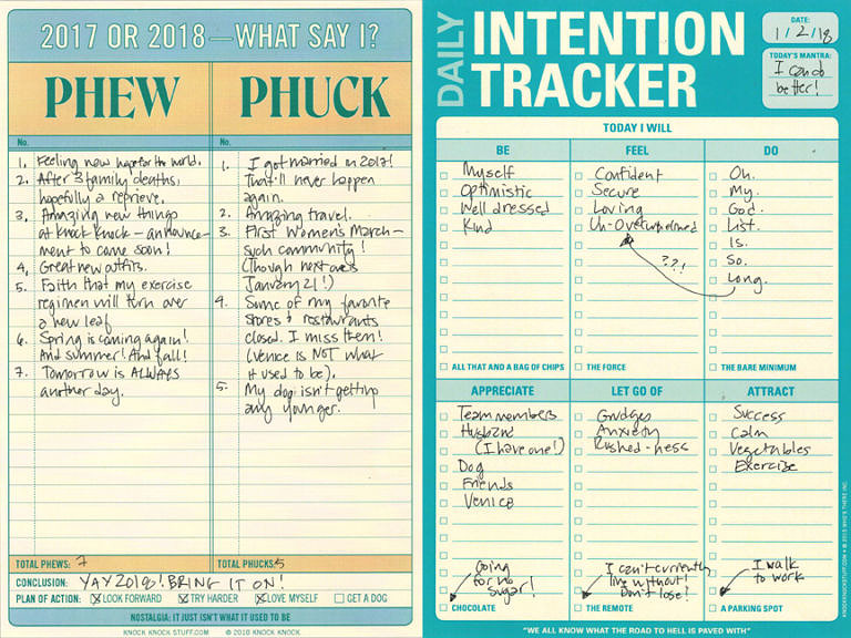 Phew or Phuck intention tracker side by side